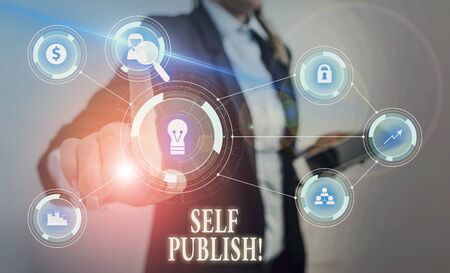 Text sign showing Self Publish. Business photo text writer publish piece of ones work independently at own expense Woman wear formal work suit presenting presentation using smart device 版權商用圖片 - 133024271