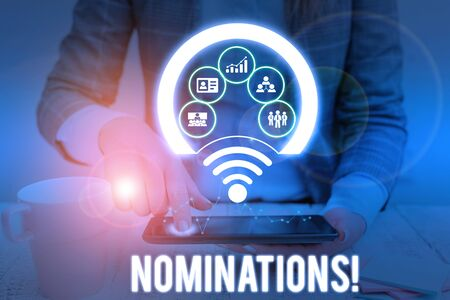 Conceptual hand writing showing Nominations. Concept meaning action of nominating or state being nominated for prize Picture photo network scheme with modern smart device