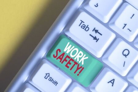 Writing note showing Work Safety. Business concept for policies and procedures in place to ensure health of employees White pc keyboard with note paper above the white background Stock fotó