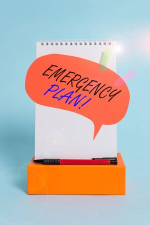 Word writing text Emergency Plan. Business photo showcasing actions developed to mitigate damage of potential events Notepad box speech bubble arrow banners ballpoint cool pastel background 版權商用圖片