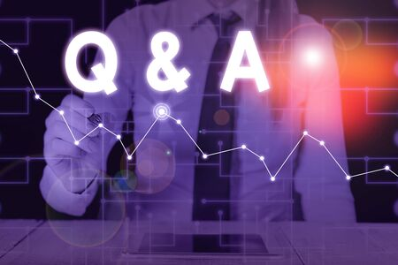 Conceptual hand writing showing Q And A. Concept meaning defined as questions being asked and answers Woman wear formal work present using smart latest device