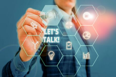 Text sign showing Let S Is Talk. Business photo showcasing suggesting in the beginning of a conversation on the topic Woman wear formal work suit present presentation using smart latest device