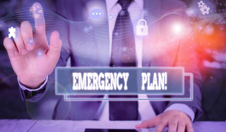 Text sign showing Emergency Plan. Business photo showcasing actions developed to mitigate damage of potential events Picture photo system network scheme modern technology smart device