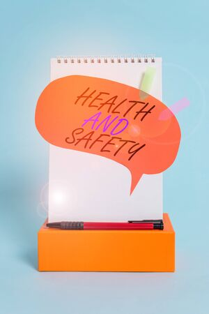 Word writing text Health And Safety question. Business photo showcasing regulations and procedures intended to prevent accident Notepad box speech bubble arrow banners ballpoint cool pastel background Stock Photo