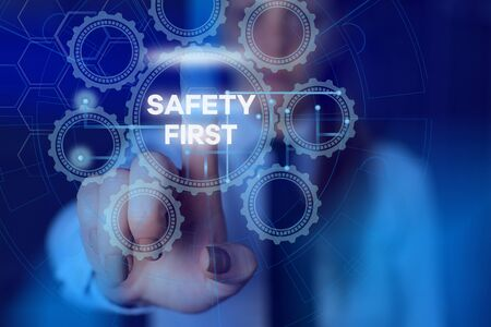 Word writing text Safety First. Business photo showcasing used to say that the most important thing is to be safe Picture photo system network scheme modern technology smart device