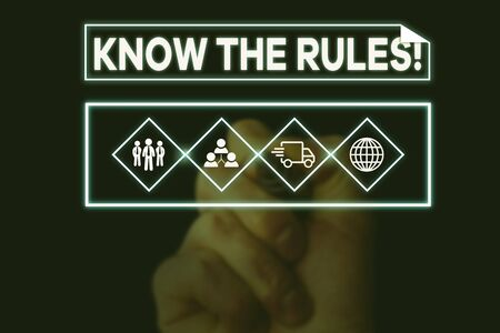 Text sign showing Know The Rules. Business photo text set explicit or regulation principles governing conduct Picture photo system network scheme modern technology smart device