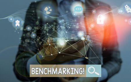 Text sign showing Benchmarking. Business photo showcasing evaluate something by comparison with standard or scores Picture photo system network scheme modern technology smart device