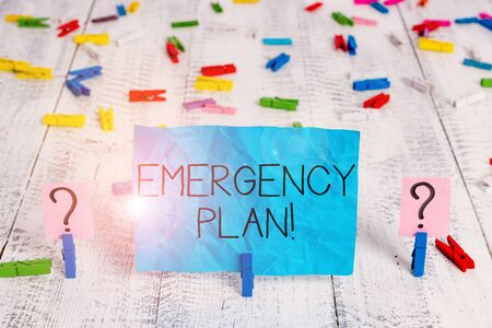 Handwriting text Emergency Plan. Conceptual photo actions developed to mitigate damage of potential events Scribbled and crumbling sheet with paper clips placed on the wooden table 版權商用圖片