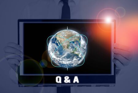Word writing text Q And A. Business photo showcasing defined as questions being asked and answers Picture photo system network scheme modern technology smart device Banco de Imagens