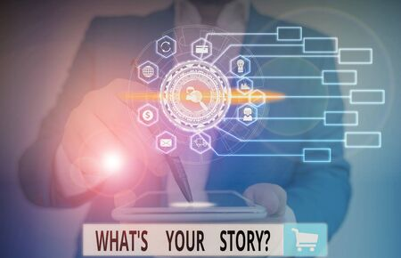 Writing note showing What S Is Your Story question. Business concept for being asked by someone about my own journey from beginning till now Picture photo network scheme with modern smart device Standard-Bild