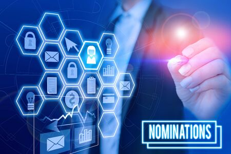 Handwriting text writing Nominations. Conceptual photo action of nominating or state being nominated for prize Woman wear formal work suit present presentation using smart latest device