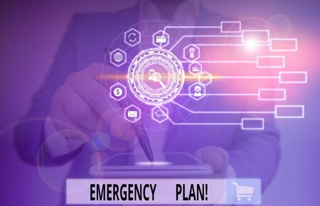Writing note showing Emergency Plan. Business concept for actions developed to mitigate damage of potential events Picture photo network scheme with modern smart device