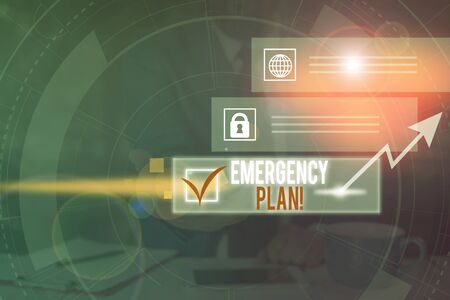 Word writing text Emergency Plan. Business photo showcasing actions developed to mitigate damage of potential events Picture photo system network scheme modern technology smart device