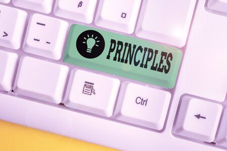 Handwriting text writing Principles. Conceptual photo fundamental truth that serves as the base for a system of belief White pc keyboard with empty note paper above white background key copy space Banque d'images