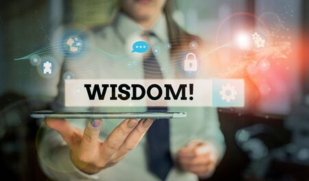 Conceptual hand writing showing Wisdom. Concept meaning quality having experience knowledge and good judgement something Picture photo network scheme with modern smart device