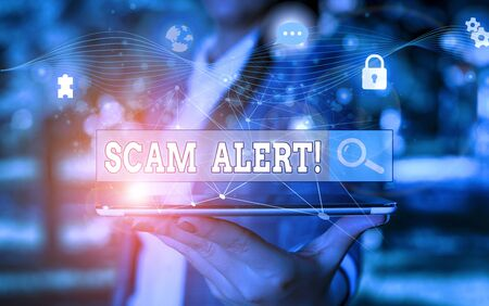 Text sign showing Scam Alert. Business photo showcasing fraudulently obtain money from victim by persuading him Picture photo system network scheme modern technology smart device
