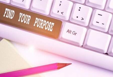 Text sign showing Find Your Purpose question. Business photo showcasing reason for something is done or for which exists White pc keyboard with empty note paper above white background key copy space
