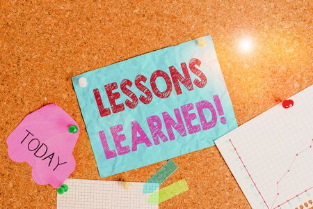 Conceptual hand writing showing Lessons Learned. Concept meaning experiences distilled project that should actively taken Corkboard size paper thumbtack sheet billboard notice board