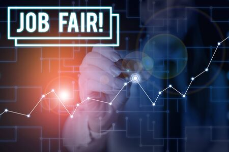 Word writing text Job Fair. Business photo showcasing event in which employers recruiters give information to employees Woman wear formal work suit present presentation using smart latest device