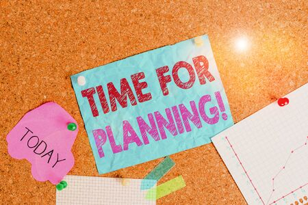 Conceptual hand writing showing Time For Planning. Concept meaning exercising conscious control spent on specific activities Corkboard size paper thumbtack sheet billboard notice board Banque d'images