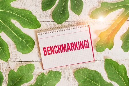 Conceptual hand writing showing Benchmarking. Concept meaning evaluate something by comparison with standard or scores Leaves surrounding notepaper above a classic wooden table