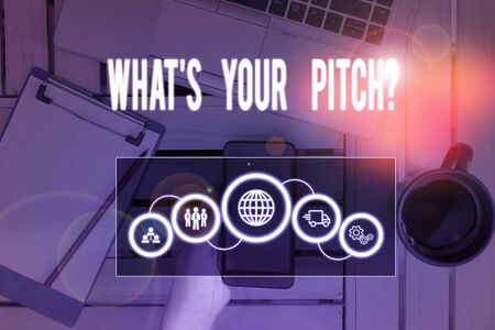 Writing note showing What S Is Your Pitch question. Business concept for asking about property of sound or music tone Picture photo network scheme with modern smart device