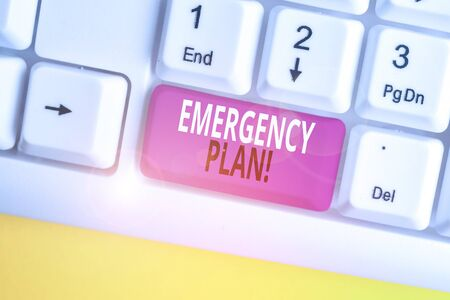 Text sign showing Emergency Plan. Business photo text actions developed to mitigate damage of potential events White pc keyboard with empty note paper above white background key copy space