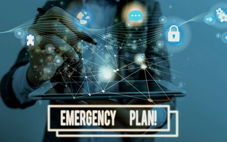 Conceptual hand writing showing Emergency Plan. Concept meaning actions developed to mitigate damage of potential events Picture photo network scheme with modern smart device