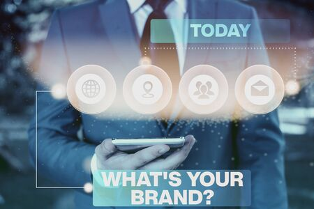 Conceptual hand writing showing What S Your Brand Question. Concept meaning asking about product logo does or what you communicate Picture photo network scheme with modern smart device