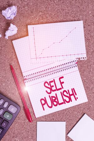 Handwriting text writing Self Publish. Conceptual photo writer publish piece of ones work independently at own expense Desk notebook paper office cardboard paperboard study supplies table chart