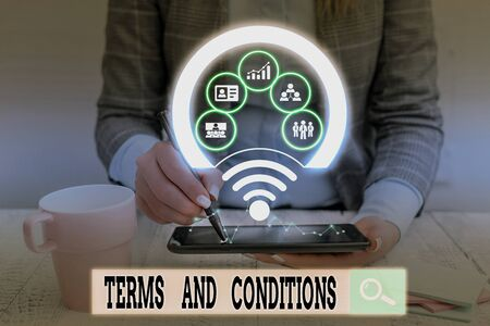 Text sign showing Terms And Conditions. Business photo showcasing rules that apply to fulfilling a particular contract Picture photo system network scheme modern technology smart device