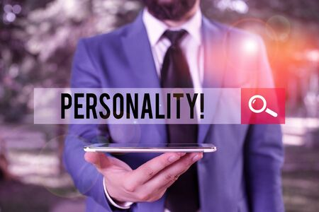 Handwriting text writing Personality. Conceptual photo combination characteristics that form individuals character Businessman in blue suite with a tie holds lap top in hands Archivio Fotografico - 133131831