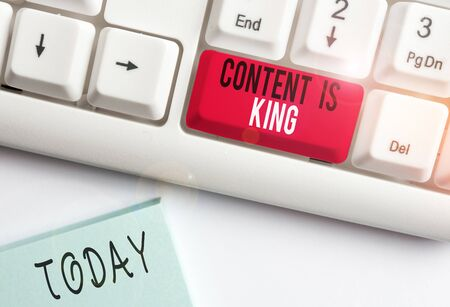 Conceptual hand writing showing Content Is King. Concept meaning marketing focused growing visibility non paid search results White pc keyboard with note paper above the white background Stock Photo