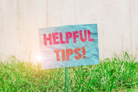 Text sign showing Helpful Tips. Business photo showcasing advices given to be helpful knowledge in life Plain empty paper attached to a stick and placed in the green grassy land