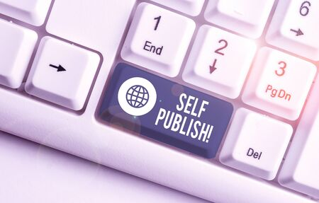 Word writing text Self Publish. Business photo showcasing writer publish piece of ones work independently at own expense White pc keyboard with empty note paper above white background key copy space 版權商用圖片 - 133132995