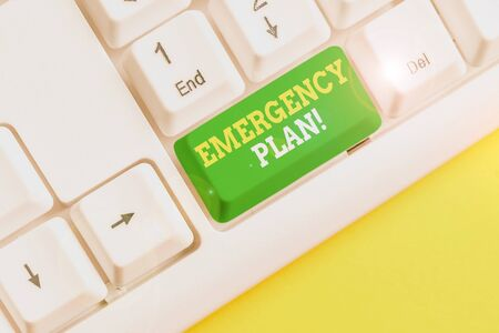 Writing note showing Emergency Plan. Business concept for actions developed to mitigate damage of potential events White pc keyboard with note paper above the white background