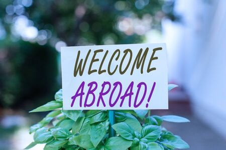 Handwriting text writing Welcome Abroad. Conceptual photo something that you say when someone gets on ship Plain empty paper attached to a stick and placed in the green leafy plants