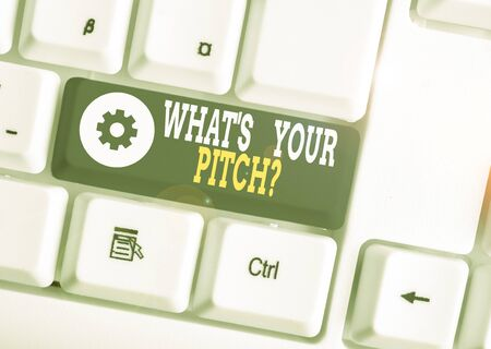 Word writing text What S Is Your Pitch question. Business photo showcasing asking about property of sound or music tone White pc keyboard with empty note paper above white background key copy space
