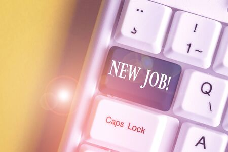 Handwriting text New Job. Conceptual photo recently having paid position of regular employment White pc keyboard with empty note paper above white background key copy space