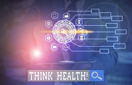 Conceptual hand writing showing Think Health. Concept meaning state of complete physical mental and social well being Picture photo network scheme with modern smart device