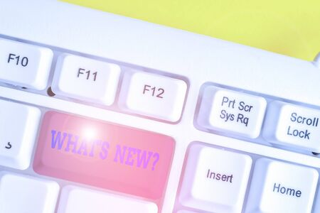 Writing note showing What S New Question. Business concept for when you ask someone about his current live events actions White pc keyboard with note paper above the white background