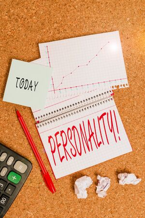 Text sign showing Personality. Business photo text combination characteristics that form individuals character Desk notebook paper office cardboard paperboard study supplies table chart Archivio Fotografico - 133134691