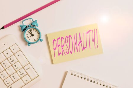 Text sign showing Personality. Business photo text combination characteristics that form individuals character White pc keyboard with empty note paper and pencil above white background Archivio Fotografico - 133134013
