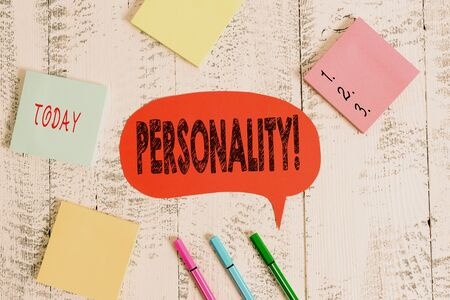 Text sign showing Personality. Business photo text combination characteristics that form individuals character Ballpoints pens blank colored speech bubble sticky notes wooden background Archivio Fotografico - 133150660