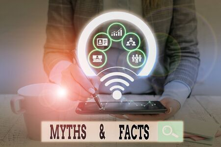 Text sign showing Myths And Facts. Business photo showcasing usually traditional story of ostensibly historical events Picture photo system network scheme modern technology smart device