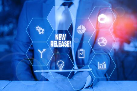 Word writing text New Release. Business photo showcasing announcing something newsworthy recent product Picture photo system network scheme modern technology smart device
