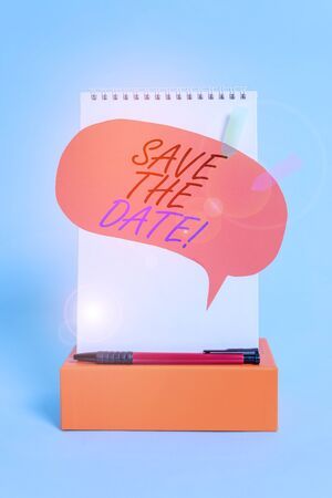 Word writing text Save The Date. Business photo showcasing Organizing events well make day special event organizers Notepad box speech bubble arrow banners ballpoint cool pastel background