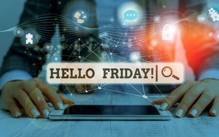 Conceptual hand writing showing Hello Friday. Concept meaning used to express happiness from beginning of fresh week Picture photo network scheme with modern smart device Reklamní fotografie