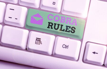 Handwriting text Cobra Rules. Conceptual photo continuing group health insurance coverage after a job loss White pc keyboard with empty note paper above white background key copy space