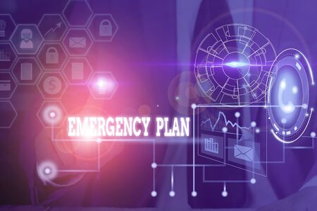 Conceptual hand writing showing Emergency Plan. Concept meaning procedures for handling sudden or unexpected situations Picture photo network scheme with modern smart device Archivio Fotografico